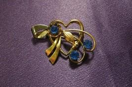 Vintage 1/20 12K GF Blue Rhinestone Heart Pin Brooch - $44.55