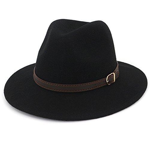 Lisianthus Women's 100% Wool Fedora Panama Hat Wide Brim with Belt Black