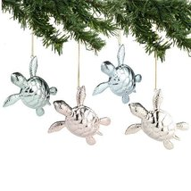 Deck The Shores - Metallic Sea Turtle Ornament Set OF 4