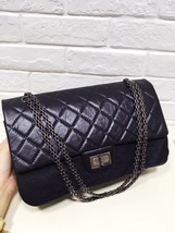 AUTHENTIC CHANEL 2.55 CLASSIC REISSUE BLACK CALFSKIN JUMBO 227 DOUBLE FLAP BAG