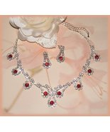 Wedding Necklace Earring Set Red & Clear Crystals Fancy! - $24.99