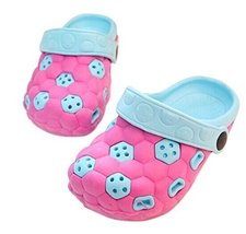 Kids Sandals In/Outdoor Toddler Clogs Shoes/Pink+Blue Football 16.5CM Length