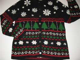 Ugly Christmas Sweater Cardigan Trees SnowflakesTalbots S - $32.95