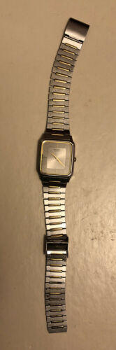 Primary image for Seiko Quartz Two Tone Square Silver Dial Dress Watch Model 6530-5510