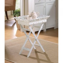 Elegantly Aged Shabby Chic White Wooden Tray Table with Drawers - $59.95
