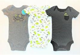 Carter's Child of Mine Infant Boys 3pc Bodysuits Size Preemie Dinosaur - $11.63