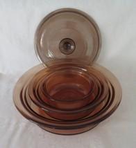 Corning Visions, Round Casseroles, 1 1/2 Quart, 24 oz, 1 Pint, c. 1980's Amber - $28.00
