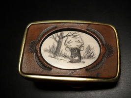 Deer Head Belt Buckle Solid Brass and Leather with Picture Inlay Made in USA - $17.99