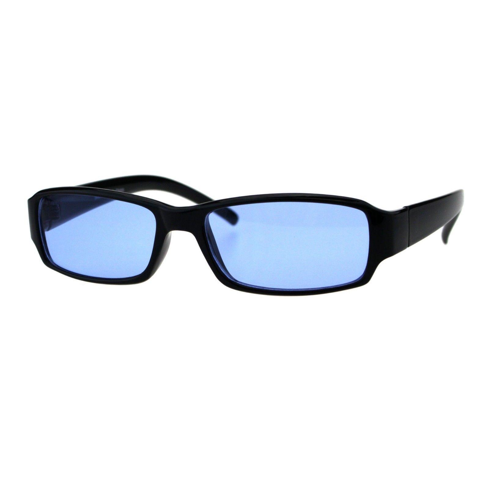 Black Rectangular Frame Sunglasses Simple Classic Shades Color Lens UV 400