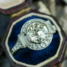 3.00Ct Round Cut White Diamond 925 Sterling Silver Designer Halo Engagem... - $117.00