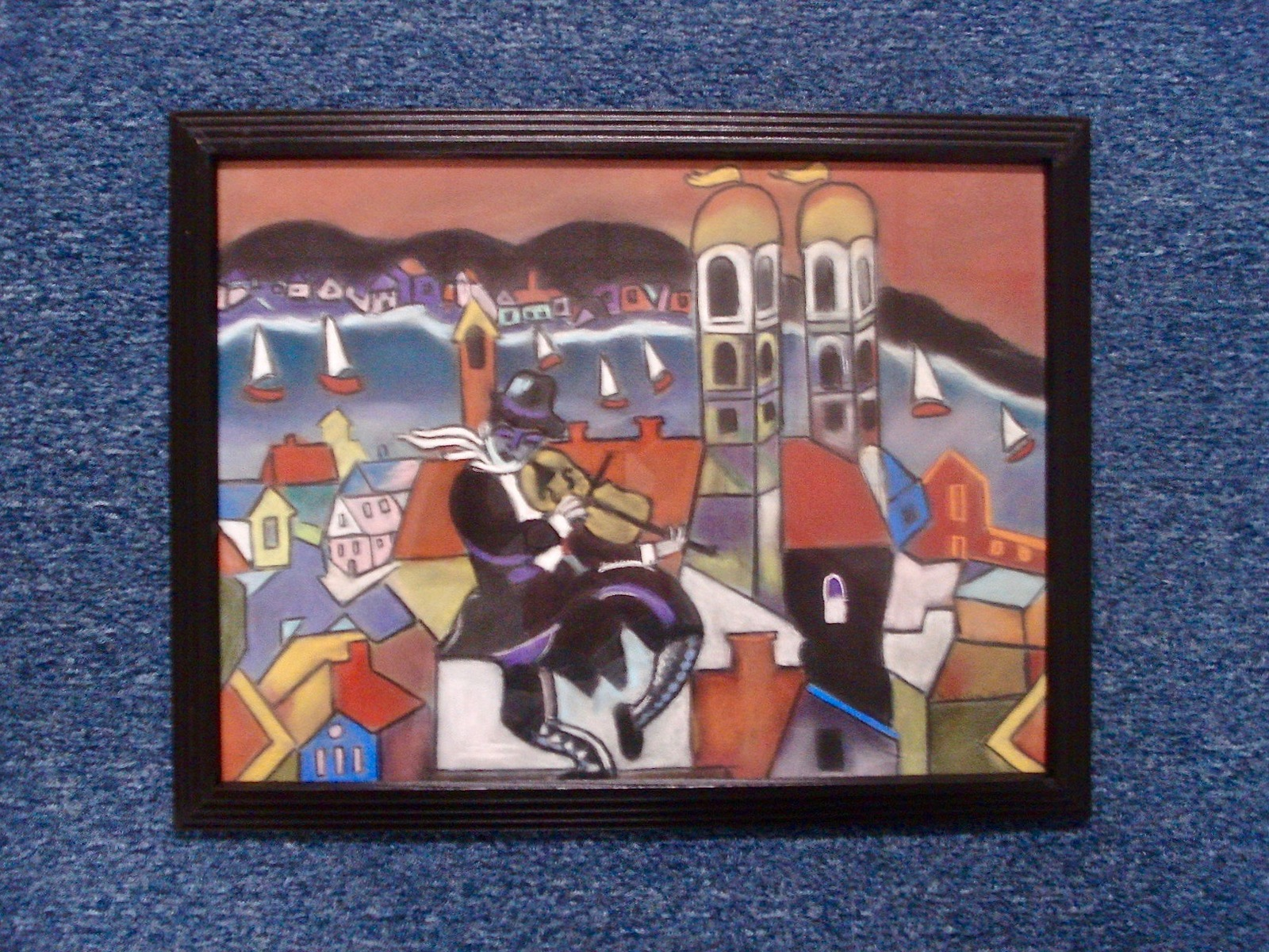 RI Artist R Califano Art Pastel Painting On The Town Dated 2003 Signed 00326