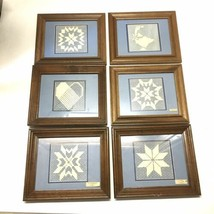 Lot Of 6 Framed Quilt Embroidered Handmade Art Pictures White Thread Lon... - $49.49