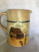 "Vtg~Salt Glazed 7 1/2"" Blue Striped Pottery Pitcher~Handpainted Farm~Galena Mo - $14.95"