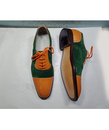 Handmade Men Green Suede Brown Real Leather Brogue Cap Toe Laceup Formal... - $139.99+