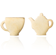5 pairs of  Tea Pot and Cup Golden Stud Earring Stud (NED205A) - $12.50