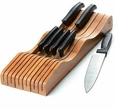 Bambusi In-Drawer Knife Block - 100% Natural Bamboo Knife Storage Organizer