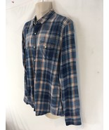 Lucky Brand Handcrafted Mens L Blue Plaid Rodeo Cowboy Western Pearl Sna... - $29.70