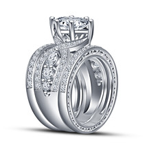 New Woman's Engagement Rings Set 14k White Gold Fn 925 Sterling Silver Free Ship - $138.56