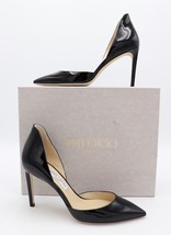 Jimmy Choo Liz 85 d'Orsay Black Patent Leather Pointy Toe Pump Heels 7.5... - $325.00