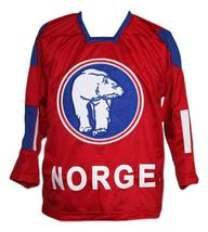 Per-Age Skroder #19 Team Norway Hockey Jersey New Sewn Red Any Size image 4