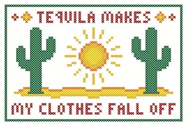 Tequila Makes My Clothes Fall Off Sassy Sampling PDF cross stitch John Shirley  - $89,02 MXN