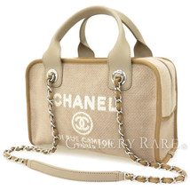 Chanel Deauville Line Shoulder Bag Greige Cotton Canvas Calfskin A92749 ... - €1.738,65 EUR