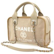 Chanel Deauville Line Shoulder Bag Greige Cotton Canvas Calfskin A92749 ... - ₨147,594.97 INR