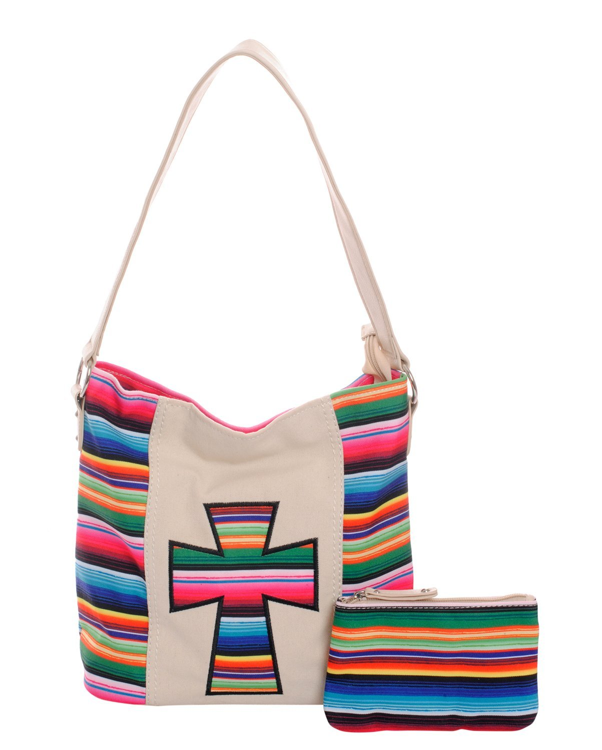 Colorful 2 Piece Set Striped Cross Tote Purse & Pouch Clutch Wallet / Makeup Bag