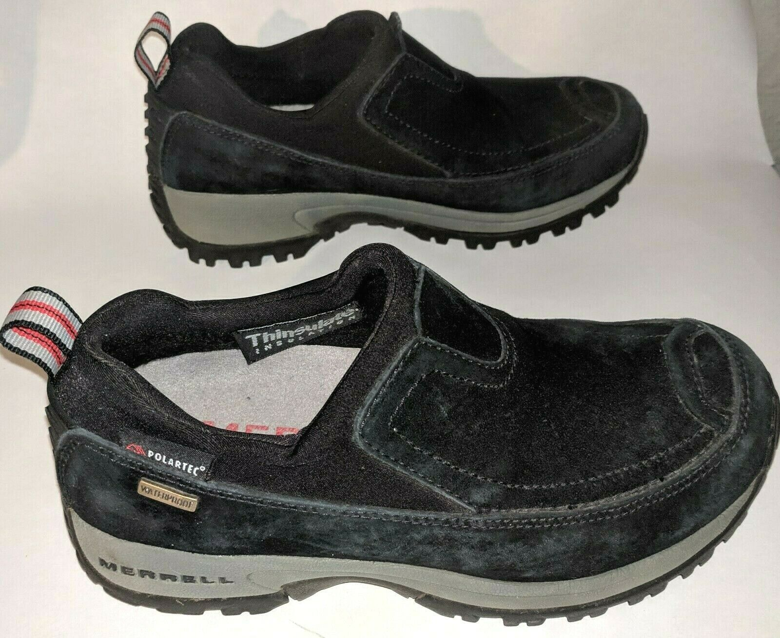 Merrell Womens 6 Winter Shoes Slip On Polar Moc Waterproof Insulated Black Suede