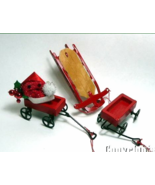 Midwest of Cannon Falls Vintage Sled Wagons Toys Christmas Ornaments x3 - $8.99