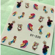 BANG STORE Nail Art Water Decals Bunny Rabbits Flowers Rainbows FUNNY AN... - $2.12