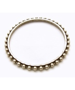 J Crew Silver Stack Bangle Bracelet Thin Beaded Edge Antiqued Matt Finis... - $12.00