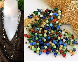 Vintage Glass Beads Tiny Wired Multicolor Necklace Flapper Long Strand - $31.95