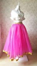 Fuchsia and Golden Tulle Long skirt Tulle Mesh Princess Skirt, Ballet Skirt NWT image 4