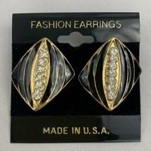 Black Enamel Clear Rhinestone Pierced Earrings Gold Tone NOS Vintage - $9.84