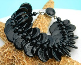 Vintage Black Glass Beads Disk Disc Bracelet Western Germany - $32.95