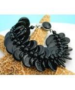 Vintage Black Glass Beads Disk Disc Bracelet Western Germany - $32.95