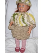 American Girl 4 Piece Outfit, Handmade, Crochet, Poncho, Skirt, Hat, Purse - $25.00