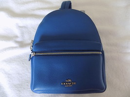 NEW COACH WOMEN'S MINI CHARLIE BACKPACK IN PEBBLE LEATHER BLUE - $140.00