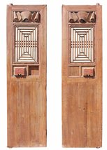 Chinese Vintage Dimensional Scroll Carving Tall Wood Door Panels cs2781 - $3,184.00