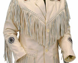 Mens Western Jacket Fringes Beads Suede Leather Native American Coat 80's Style - €97,91 EUR