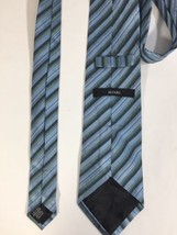 Alfani Men Light Blue Tie Silk Black Striped Size 58 Length 3 Inches width image 2