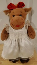 BUILD A BEAR HOLLY GIRL MOOSE WITH WHITE WEDDING DRESS STUFFED ANIMAL PL... - $13.55