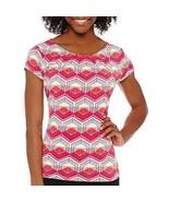 Worthington Short-Sleeve Scoop Neck T-Shirt Petites Size PL New Mandy Multi - $14.99