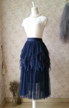 NAVY Full Tulle Prom Skirts Long Prom Skirt Elastic Waist Evening Skirts image 3