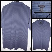 VAN HEUSEN Blue Striped Short Sleeve Polo Shirt Top Sz XL Men's VGC - $10.88