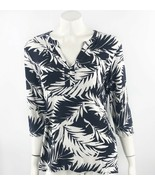 Talbots Top Sz Large Black White Palm Print Split Neck Stretch Knit Shir... - $14.85