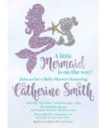 Mermaid Baby Shower Invitation Mother Baby Under the Sea Party Teal Lavender - $9.99 - $236.00