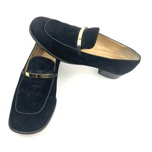 Authentic GUCCI Black Suede Gold Horsebit Bar Loafer Heels Size 6 - 6.5 ... - $173.24