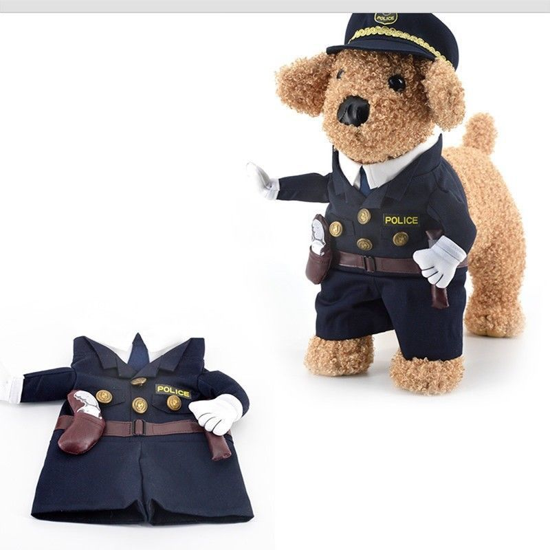 Policeman Pet Costume Style Dog Jeans Clothes Cat Funny Apparel Gomaomi